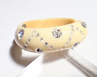 Cream Colored Thermoset With Clear Rhinestones Hinged Clamper Bracelet