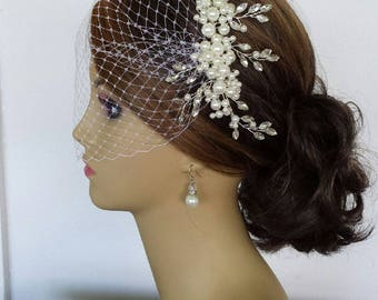"""IVORY BRIDAL HEADPIECE, Ivory Faux Pearl and Rhinestone Bridal Headpiece With Birdcage Veil (3 Pieces) """"Shania"""""""