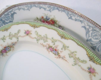 Vintage Mismatched China Oval Serving Platters with Imperfections - Set of 2