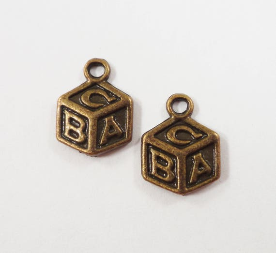 Toy Block Charms 13x10mm Bronze Block Charms, Building Block Charms, ABC Block Charms, ABC Block Pendants, Antique Brass Metal Charms, 10pcs