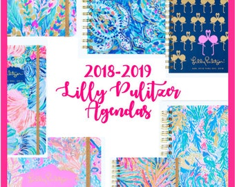 Lilly Pulitzer 2018- 2019 Agenda Planner Calendar Free Monogramming! Medium, Large, Jumbo, Small Catch The Wave, Party, Mermaid Cove, Turtle