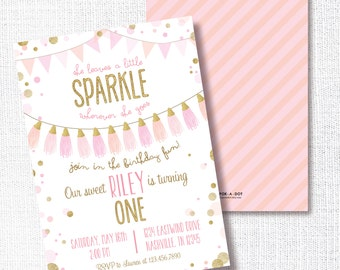 Pink and Gold Birthday Party Invitation, Printable, She Leaves A Little Sparkle Wherever She Goes Invite, Tassel, 1st, First, Confetti