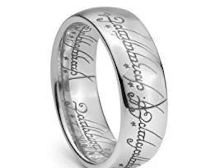 Elvish Wedding Band Ring Elvish Script Plain Lord Ring  Style Tungsten Carbide Men & Women Laser-etched - 7mm