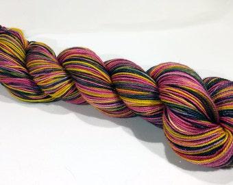 Handdyed SW Merino/Nylon/Stellina Sock Yarn - Fiesta - red, orange, yellow, black, glitter - Coruscate