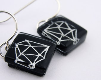Glass Earrings: Polyhedra Squares * NEW*