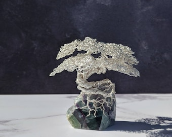 A non tarnishing silver plated copper wire tree on a fluorite base. Wire tree sculpture. Bonsai tree