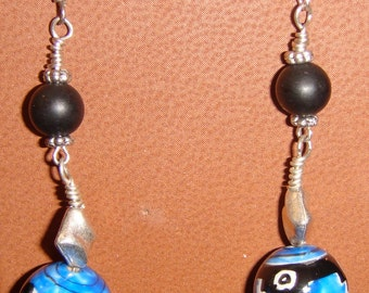 Southwest Blue and Black Balls with Black Jade Pieced Earrings