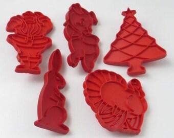 Vintage Tupperware Red Cookie Cutters