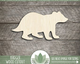 Wood Badger Laser Cut Shape, Wooden Badger Shape, Many Sizes And Shapes Available, Badger Party Decoration, Nursery Decor, Blank Wood Shapes