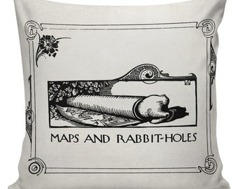Maps and Rabbit Holes Cushion Pillow Cover Alice In Wonderland cotton canvas throw pillow 18 inch square #UE0199 Urban Elliott