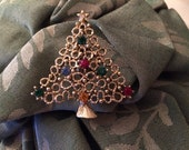 1970's Vintage Gold Tone Christmas Tree Brooch With Multi Colored Crystals