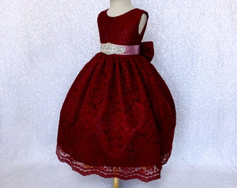 Flower Girl Holiday Easter Lace Burgundy Dress Dusty Rose Ribbon Crystal Bow Graduation Recital Baby Junior Fall Photoshoot Birthday Party