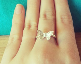 Sterling Silver Butterfly Boho Rustic Ring Band