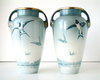 Pair of large art deco KG LUNEVILLE mantle piece vases with birds. Flying swallows.