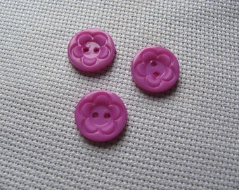 SET of 3 purple flowers 16mm round buttons