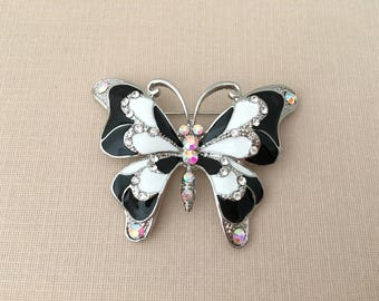 Black Butterfly Brooch.Black Butterfly Pin.Rhinestone Butterfly Brooch.Crystal.Wedding.Bridal.Silver Black White Butterfly.Butterfly Broach