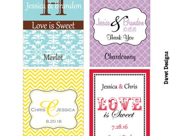 112 - 2x2.67 inch Custom Wedding Rectangle or Mini Wine Bottle Labels - hundreds of designs - change designs to any color, wording etc