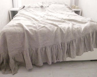 Linen Ruffled Duvet Cover With Long Ruffle, Linen Bedding,chic Bedding, Eco  Bedding,100% Flax, Ruffled Bedding