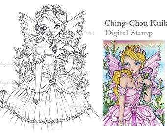 Carnation Fairy - Digital Stamp Instant Download / Flower Girl Lady Fantasy Art by Ching-Chou Kuik