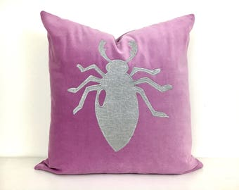 Pink Velvet Pillow Cover with Silver Beetle Appliqué