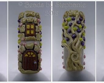 FAIRY TALE TOWER – Lampwork Focal Bead  – Lampwork Pendant Focal Handmade Supplies - by Stephanie Gough sra fhfteam leteam
