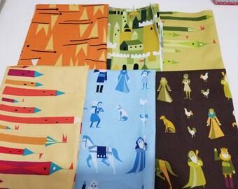 CASTLE PEEPS 6 Fat Quarter Bundle Lizzy House cotton quilting fabric oop