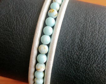 Leather and natural stone bracelet
