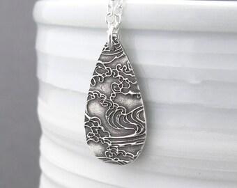 Ocean Necklace Nautical Jewelry Sterling Silver Necklace Silver Pendant Necklace Beach Jewelry Silver Ocean Jewelry - Abigail
