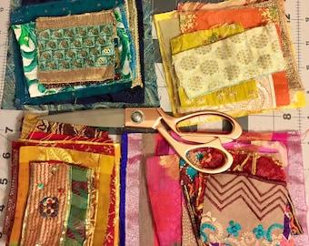 Textile Embellishment Kit, Craft Kit, Fabric Scraps, Fabric Embellishment Lot, Bohemian Decorative fabrics-Junk Journal fabric bundles