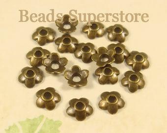 6.5 mm x 2 mm Antique Bronze Flower Bead Cap - Nickel Free, Lead Free and Cadmium Free - 50 pcs