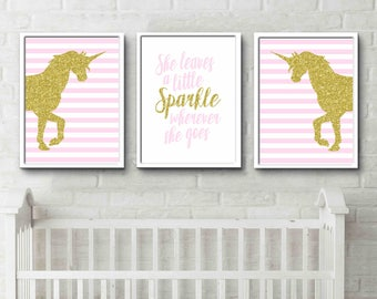 Unicorn Prints sparkle quote little girls room decor posters pink and gold