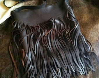 Large Hand Stitched Deerskin Fringe Purse- Made To Order Black/Grey/Red/Brown/Custom Colors