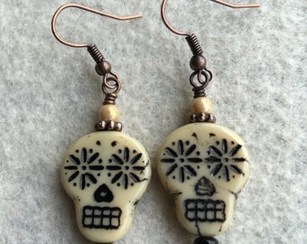 Ivory and Black Czech Glass Sugar Skull Day of The Dead Earrings