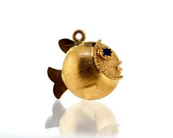 Vintage Gold Charm - 18ct Gold Fish Charm - Vintage 18ct Gold Charm