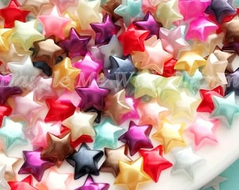 6mm pearl stars cabochon flatback mixed colors jewelry embellishment scrapbooking hair accessories decoden phone case embellishment *30pcs*