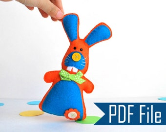 Bunny Pattern, Rabbit Sewing Pattern,  Pdf Epattern, Plush Toy, Felt Bunny Pattern, Baby Rabbit Pattern Instant Download A506