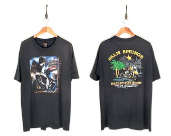 90s Harley Davidson American Pride Palm Springs California T-Shirt. Vintage Single Stitch 1996 Palm Springs Harley Davidson Tee.