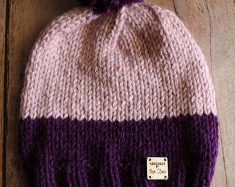 Handmade knit beanie, dark purple & lilah handmade knitted hat, cozy and warm knitted hat