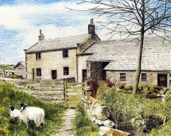 "Art Print: ""Moorside Farm"" -  A3 countryside print, farmhouse, sheep print, landscape, farm print, wall art, from a painting by Dave Marsh"