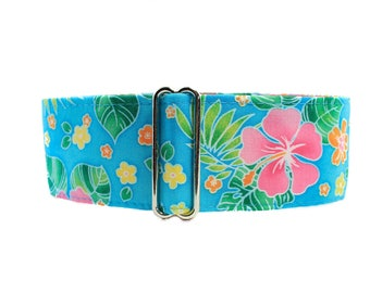 Hawaiian Martingale Collar Greyhound, Whippet Collar, Hawaiian Dog Collar, Floral Dog Collar, Side Release Dog Collar, Greyhound Collar