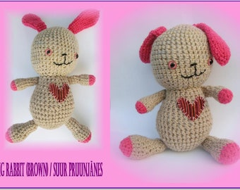 Amigurumi rabbit- Big rabbit (brown)-Crochet stuffed animal