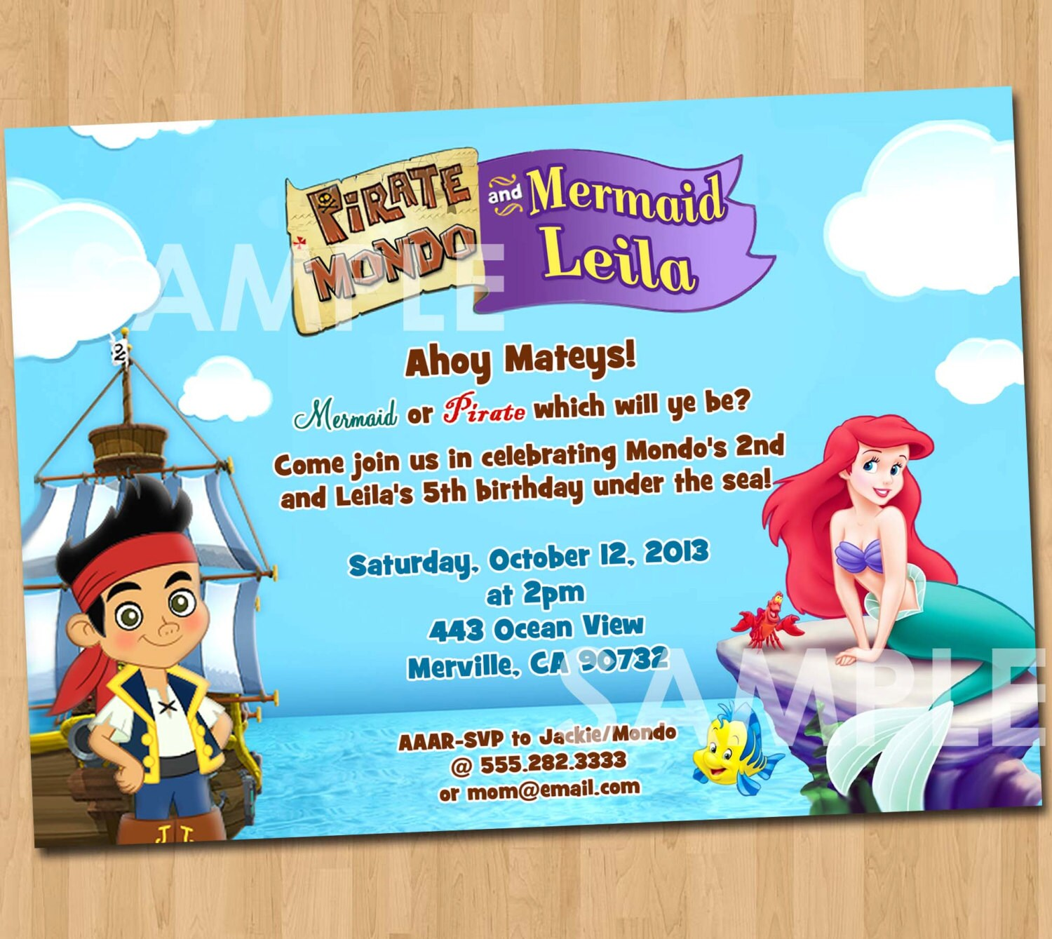 Pirate And Mermaid Invitation Printable Birthday Party