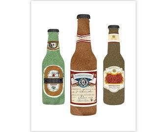 Beer Art Print- Bar/Kitchen/Alcohol Poster Print - Art Collage Illustration Print