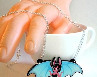 Cute Succubus Demon Girl acrylic charm necklace