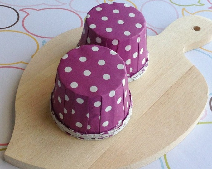 50 Polka Dots Purple Baking Cups