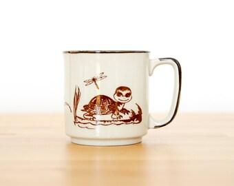 Vintage Turtle Mug • Kawaii Mori Kei • Japanese Collectible • 60s 70s • Wildlife Coffee Cup • Woodland Creature • Cute Forest Animal