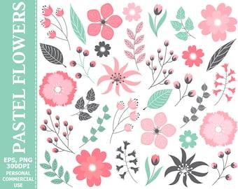 Digital Pastel Pink Floral Clip Art - Leaves, Flowers, Wedding, Pastel, Blossoms Clip Art