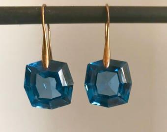 Swiss Blue Topaz Gold Earrings