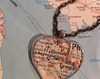 Avondale Vintage Map Pendant Necklace
