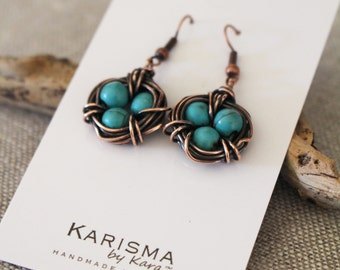 Bird Nest Earrings.Oxidized Copper. Howlite Turquoise. Wire jewelry